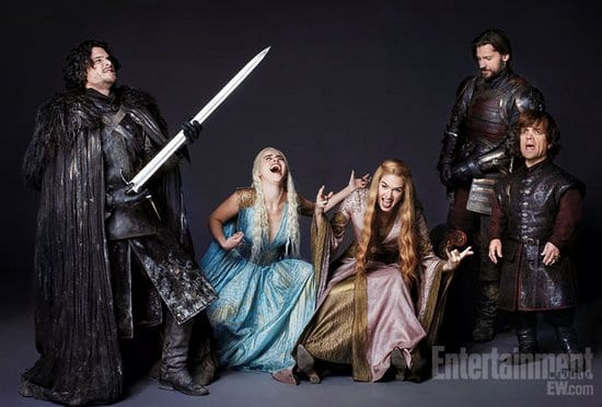 Peter Dinklage, Emilia Clarke, Kit Harington, Nikolaj Coster-Waldau & Lena Headey from Game of Thrones on the Sets of Entertainment Weekly Magazine Photoshoot