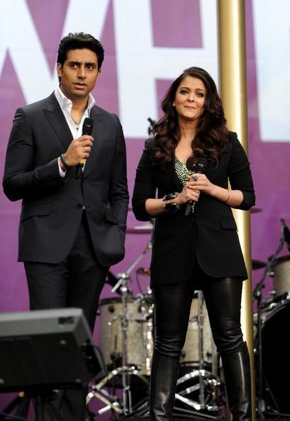 Aishwarya Rai Bachchan, Abhishek Bachchan and Freida Pinto at the Chime For Change Concert in London