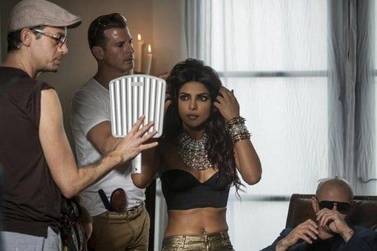 Priyanka Chopra with Pitbull on the sets of Exotic