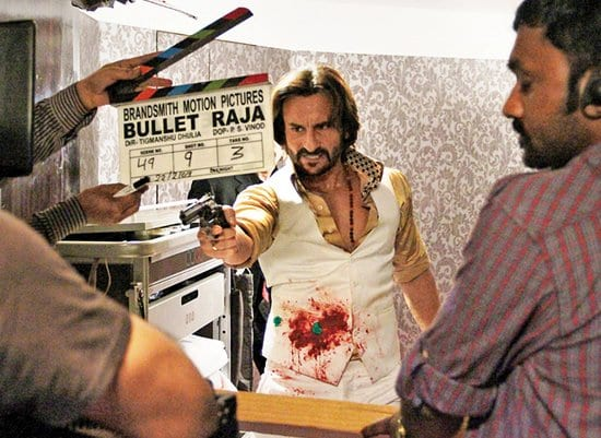 Saif Ali Khan and Sonakshi Sinha on the sets of Bullett Raja