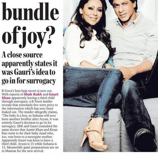 Shah Rukh Khan and Gauri Khan Having a Baby Boy