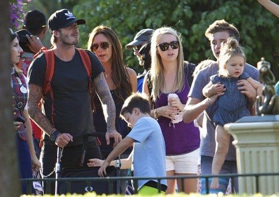 Harper Seven, Brooklyn Beckham, David Beckham and Victoria Beckham Spotted at Disneyland