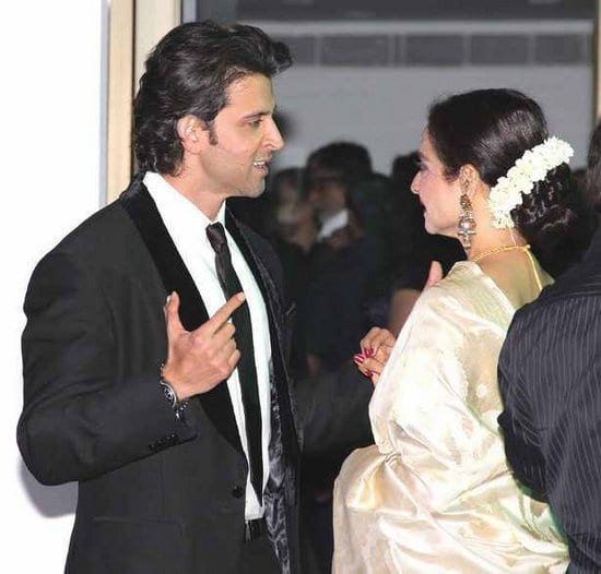 Hrithik Roshan and Rekha at Rakesh Roshan's Birthday Celebrations