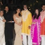 Varun Dhawan, Alia Bhatt, Ayan Mukherjee, Abhishek Bachchan, Anushka Sharma, Ranbir Kapoor, Katrina Kaif, Shah Rukh Khan, Jaya Bachchan, Aishwarya Rai Bachchan, Amitabh Bachchan and Gauri Khan at the Bachchans' Diwali Party