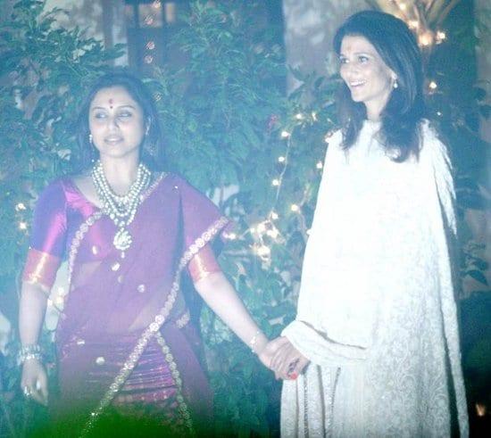 Pamela Chopra, Karan Johar, Kirron Kher and Rani Mukerji at Aditya Chopra's Diwali Party