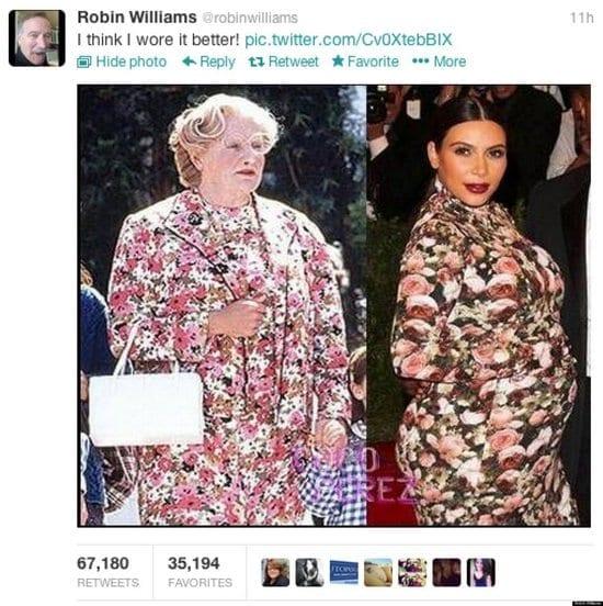 Robin Williams Compares His Mrs. Doubtfire Dress to Kim Kardashian