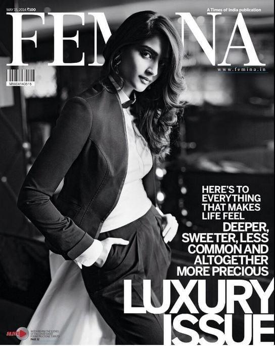 Sonam Kapoor on Femina Magazine