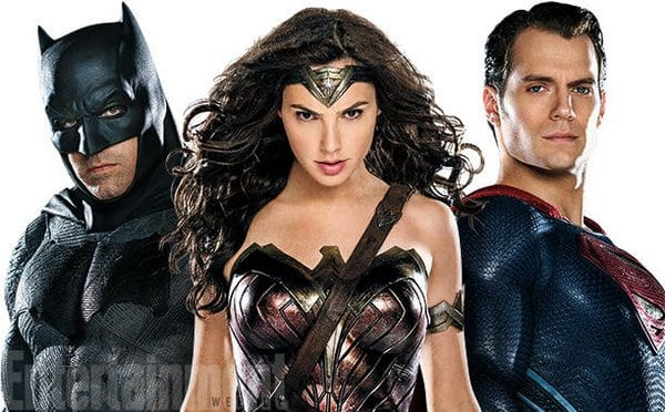 Ben Affleck as Batman, Henry Cavill as Superman and Gal Gadot as Wonder Woman on Entertainment Weekly Magazine