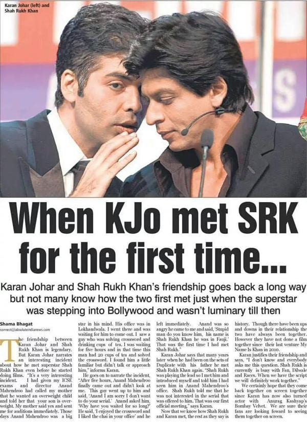 Karan Johar on When He Met Shah Rukh Khan For the First Time