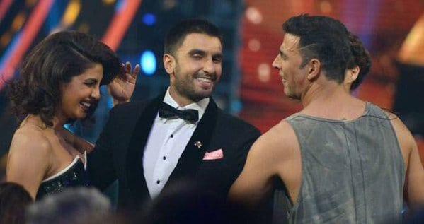 Ranveer Singh, Priyanka Chopra and Akshay Kumar at the Guild Awards 2015