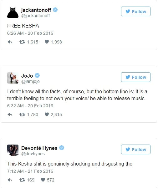 Lady Gaga, Ariana Grande, Miley Cyrus and Other Celebrities Support Kesha on Twitter