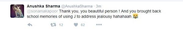 Sonam Kapoor Praises Anushka Sharma on Twitter