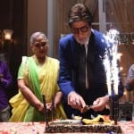 Amitabh Bachchan celebrates with his wife, Jaya Bachchan