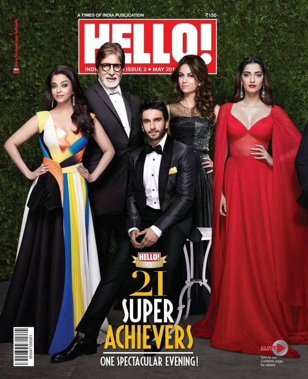 Aishwarya Rai, Amitabh Bachchan, Sonam Kapoor and Ranveer Singh on Hello Magazine