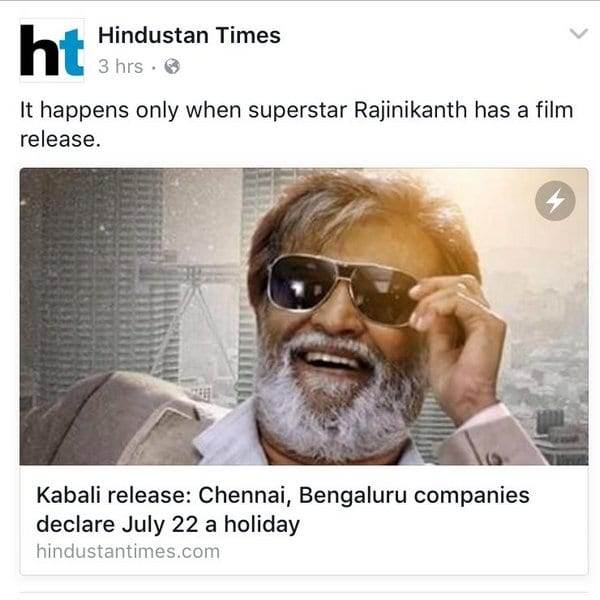 Rajinikanth Makes Kabali Release a Holiday for his Fans
