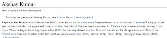 Even Wikipedia knows Akshay Kumar is Canadian