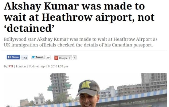 When Akshay Kumar was detained at the airport