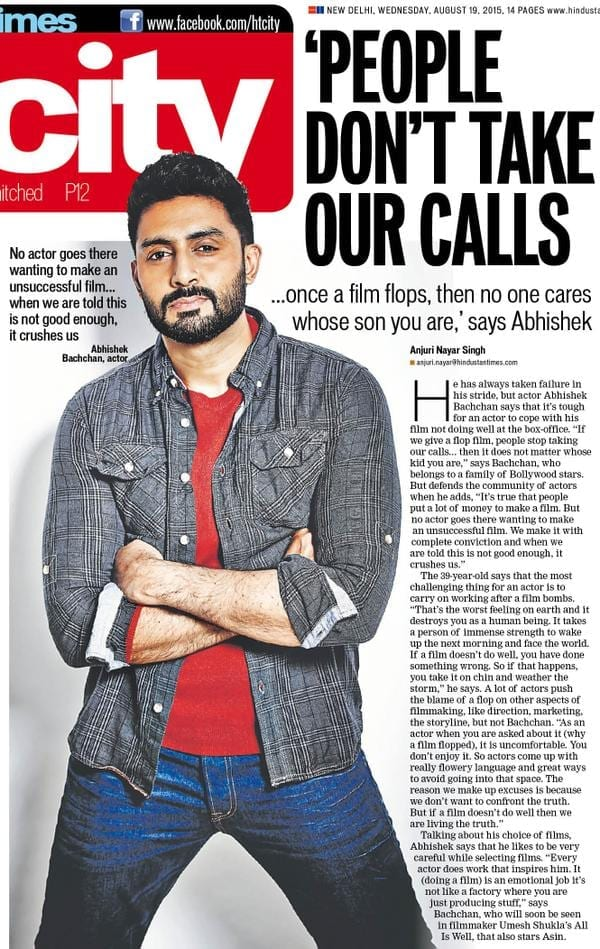 Abhishek Bachchan talks about what it's like to have a flop film
