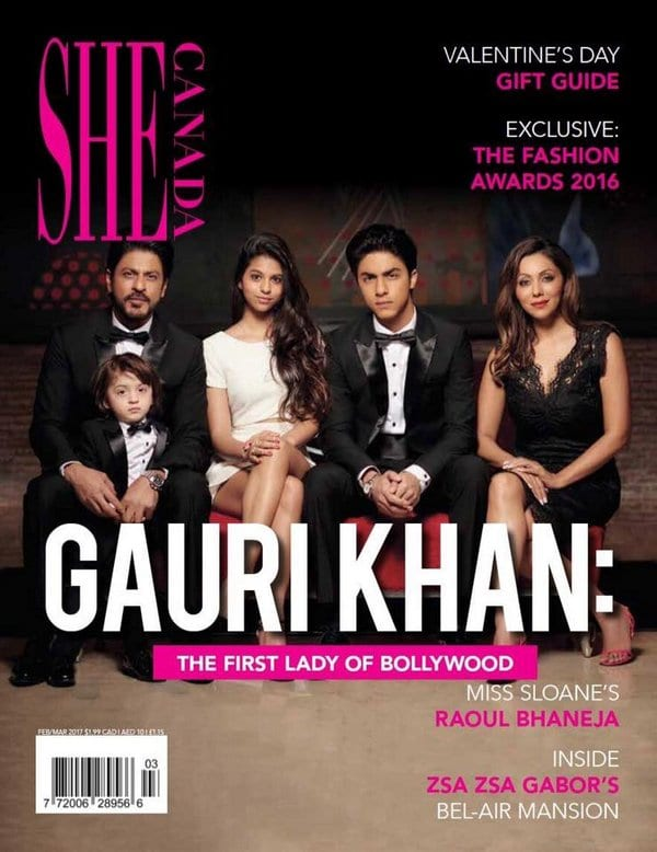 Shah Rukh Khan and Family on She Canada Magazine