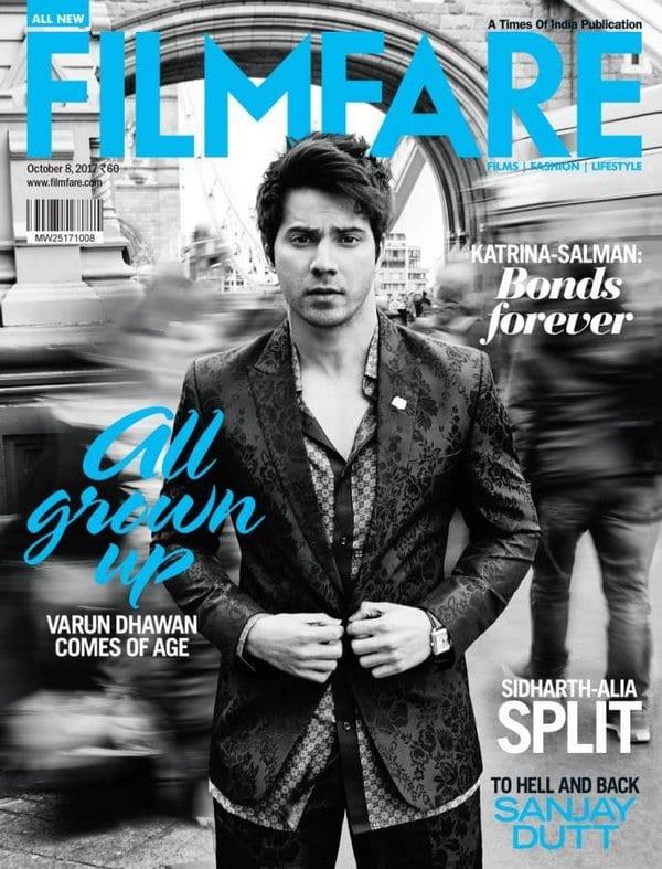 Varun Dhawan looks like he needs to use the bathroom on the cover of Filmfare Magazine